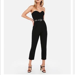 Express Strapless Sweetheart Neck Velour Jumpsuit